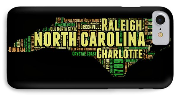 North Carolina Word Cloud Map 1 IPhone Case by Naxart Studio
