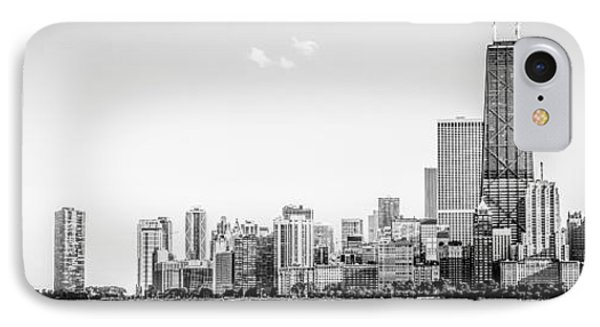 North Chicago Skyline Panorama In Black And White IPhone Case by Paul Velgos