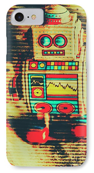 Nostalgic Tin Sign Robot IPhone Case by Jorgo Photography - Wall Art Gallery