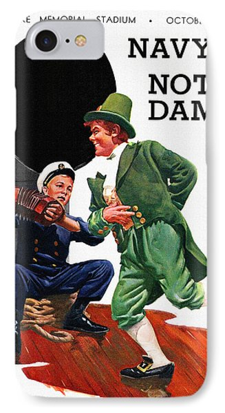 Notre Dame V Navy 1954 Vintage Program IPhone 7 Case by Big 88 Artworks