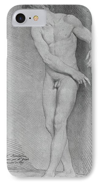 Nude Looking Down To The Left IPhone Case by Edme Bouchardon