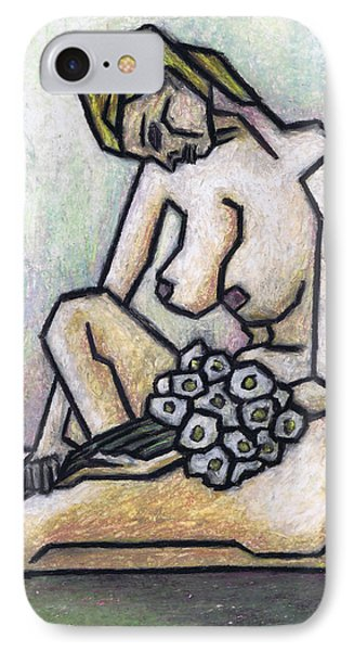 Nude With White Flowers Phone Case by Kamil Swiatek
