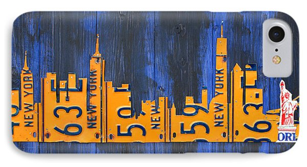 Nyc New York City Skyline With Lady Liberty And Freedom Tower Recycled License Plate Art IPhone Case by Design Turnpike