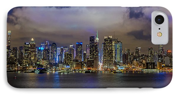 Nyc Skyline At Night IPhone Case by Susan Candelario