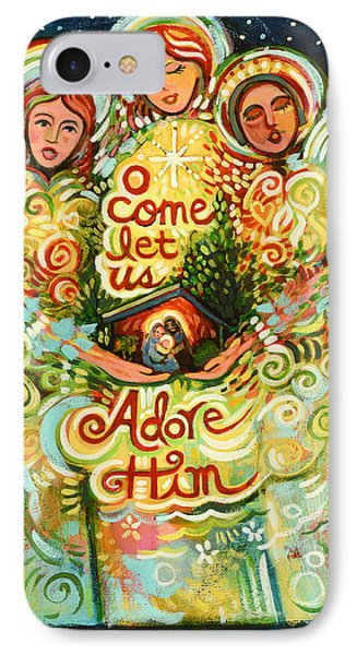 O Come Let Us Adore Him With Angels IPhone Case by Jen Norton
