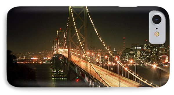 Oakland Bay Bridge By Night IPhone Case by Alberta Brown Buller