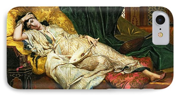 Odalisque With A Lute IPhone Case by Hippolyte Berteaux