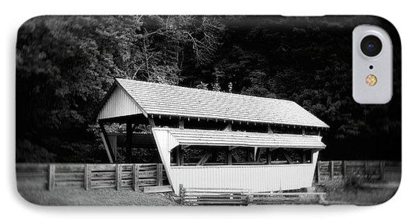 Ohio Covered Bridge In Black And White IPhone Case by Tom Mc Nemar
