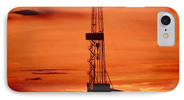 Oil Drilling Rig, Russia, At Sunset IPhone Case by Ria Novosti