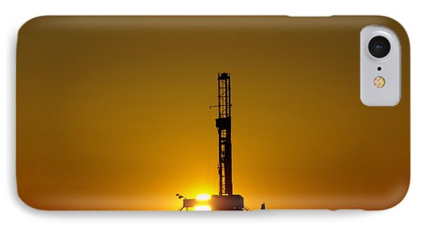 Oil Rig Near Killdeer In The Morn IPhone 7 Case by Jeff Swan