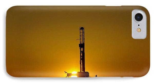 Oil Rig Near Killdeer In The Morn IPhone Case by Jeff Swan