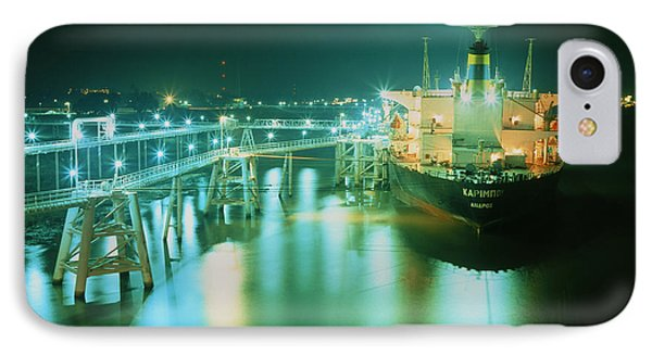 Oil Tanker In Port At Night. IPhone Case by David Parker