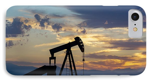 Oil Well Pump Silhouette  IPhone Case by Aaron Spong