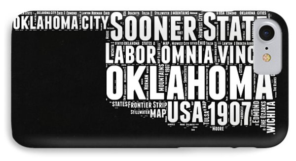Oklahoma Black And White Map IPhone Case by Naxart Studio