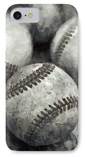 Old Baseballs Pencil IPhone Case by Edward Fielding