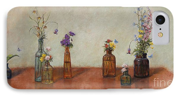 Old Bottles And Wildflowers IPhone Case by Lori  McNee