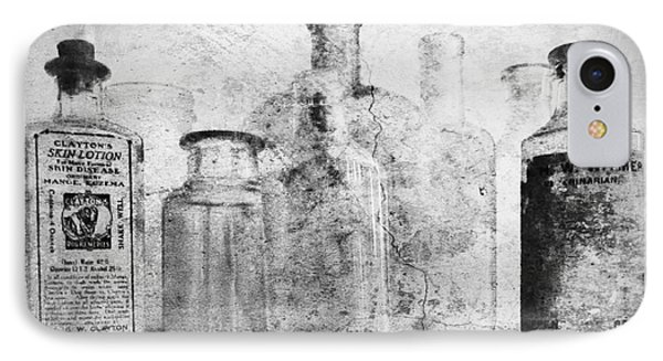 Old Bottles With Texture  Bw Phone Case by Barbara Henry