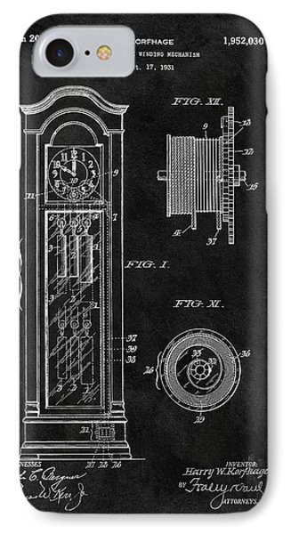 Old Grandfather Clock Patent IPhone Case by Dan Sproul
