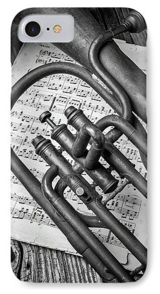 Old Horn And Sheet Music IPhone Case by Garry Gay