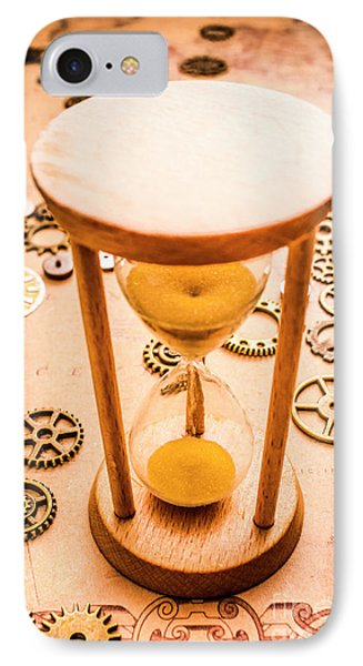 Old Hourglass Near Clock Gears On Old Map IPhone Case by Jorgo Photography - Wall Art Gallery