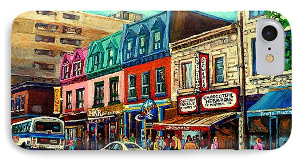 Old Montreal Schwartzs Deli Plateau Montreal City Scenes IPhone Case by Carole Spandau