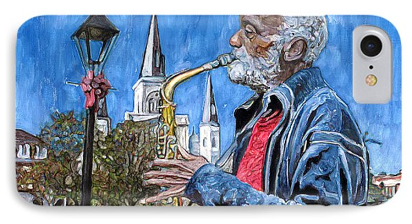 Old Sax Player In Jackson Square IPhone Case by John Boles