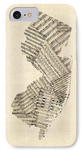 Old Sheet Music Map Of New Jersey IPhone Case by Michael Tompsett