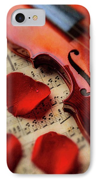 Old Violin And Rose Petals IPhone Case by Garry Gay