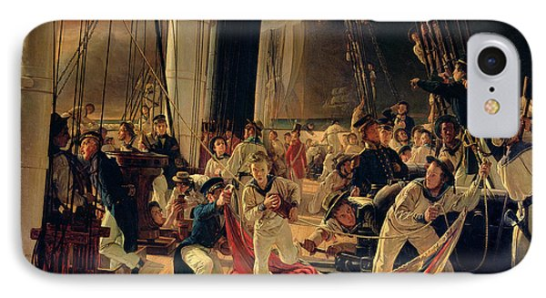 On The Deck During A Sea Battle Phone Case by Francois Auguste Biard
