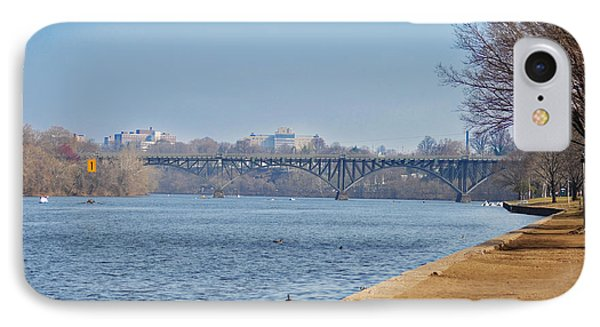 On The Schuylkill River - Strawberry Mansion Bridge IPhone Case by Bill Cannon