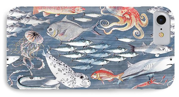 Open Sea, Repeat Pattern IPhone Case by Jacqueline Colley