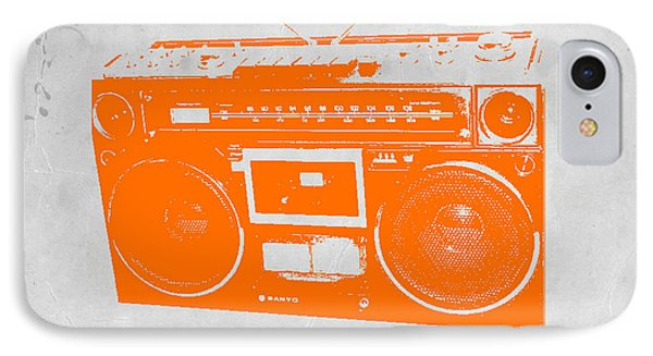 Orange Boombox IPhone Case by Naxart Studio