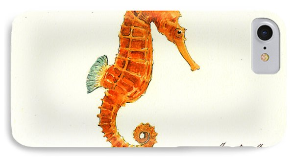 Orange Seahorse IPhone 7 Case by Juan Bosco