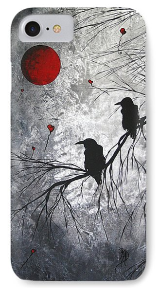 Original Abstract Surreal Raven Red Blood Moon Painting The Overseers By Madart IPhone Case by Megan Duncanson