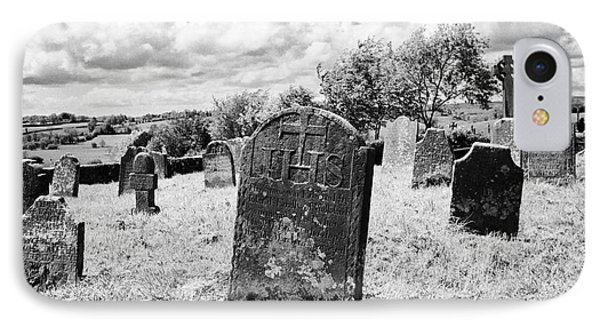 Ornate18th Century Headstones In Tydavnet Old Cemetery County Monaghan Republic Of Ireland IPhone Case by Joe Fox