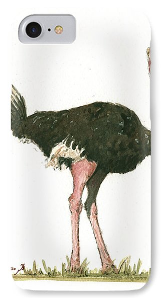 Ostrich Bird IPhone Case by Juan Bosco