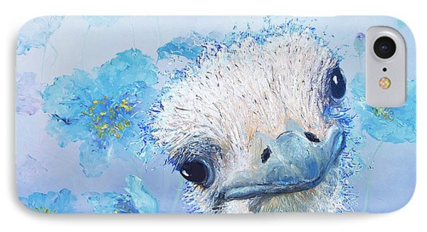 Ostrich In A Field Of Poppies IPhone Case by Jan Matson