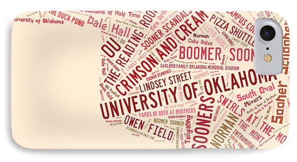 Ou Word Art University Of Oklahoma IPhone 7 Case by Roberta Peake