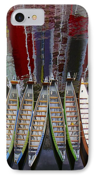 Outrigger Canoe Boats And Water Reflection Phone Case by Ben and Raisa Gertsberg