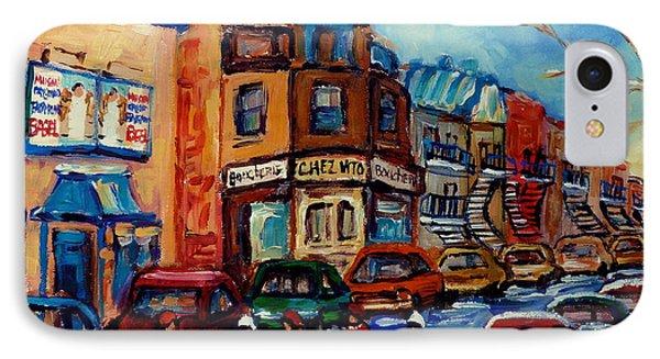 Paintings Of Montreal Hockey On Fairmount Street Phone Case by Carole Spandau