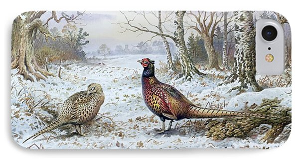 Pair Of Pheasants With A Wren IPhone 7 Case by Carl Donner