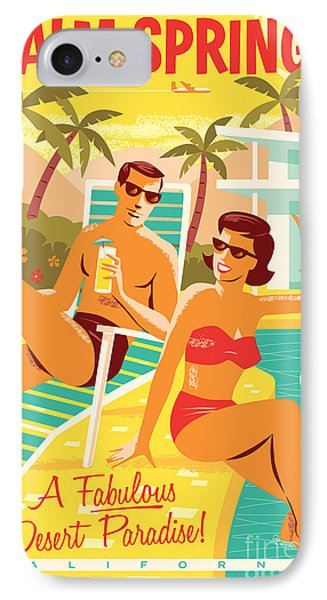 Palm Springs Retro Travel Poster IPhone 7 Case by Jim Zahniser