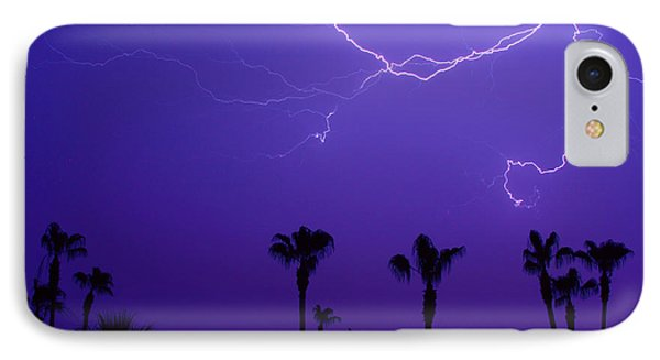 Palm Trees And Spider Lightning Striking Phone Case by James BO  Insogna