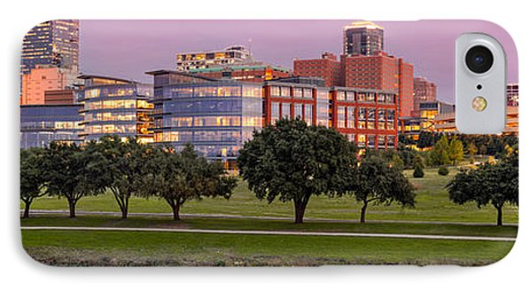 Panorama Of Downtown Fort Worth And Trinity River At Twilight - Dfw North Texas IPhone Case by Silvio Ligutti