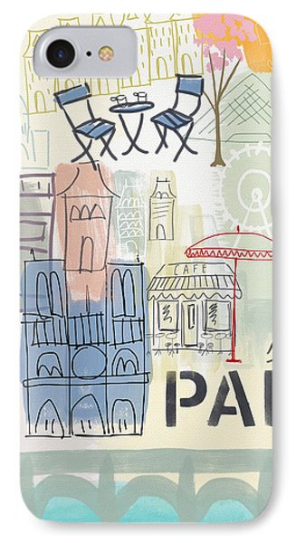 Paris Cityscape- Art By Linda Woods IPhone 7 Case by Linda Woods