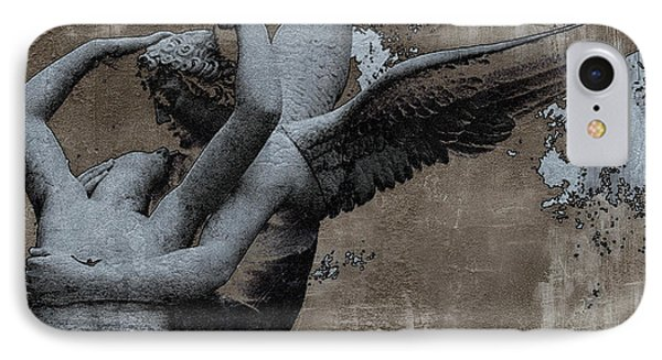Paris Eros And Psyche - Surreal Romantic Angel Louvre   - Eros And Psyche - Cupid And Psyche IPhone Case by Kathy Fornal