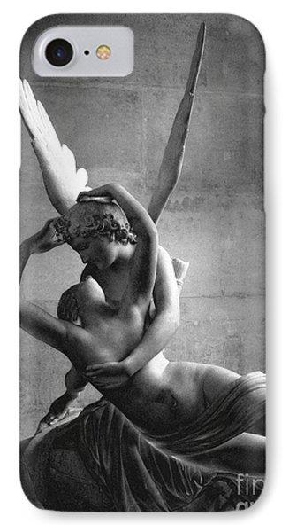 Paris In Love - Eros And Psyche Romantic Lovers - Paris Eros Psyche Louvre Sculpture Black White Art IPhone Case by Kathy Fornal