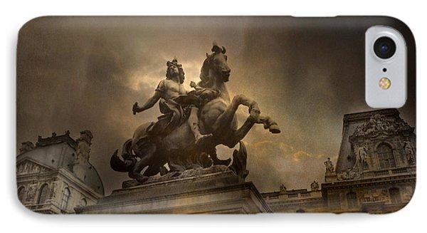 Paris - Louvre Palace - Kings Of Paris - King Louis Xiv Monument Sculpture Statue IPhone 7 Case by Kathy Fornal