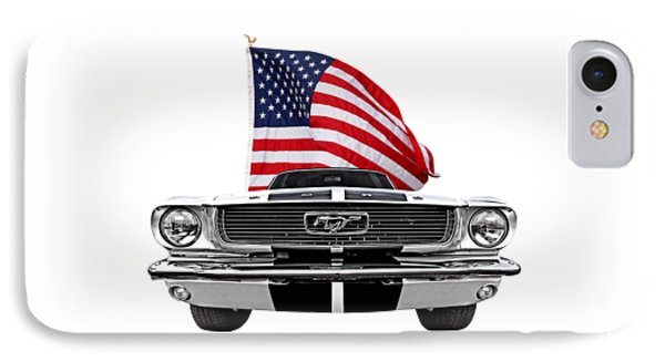 Patriotic Mustang On White IPhone Case by Gill Billington