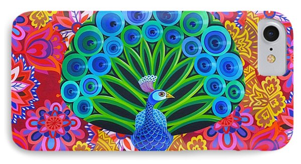 Peacock And Pattern IPhone Case by Jane Tattersfield